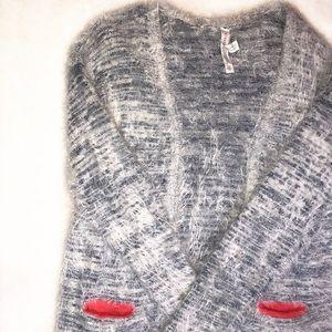 Aeropostle   Fuzzy Blue Knit Cardigan Sweater